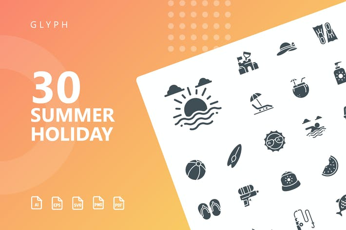 Summer Holiday Glyph Icons