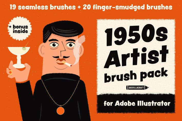 Thumbnail for 1950s Artist Brush Pack for Adobe Illustrator