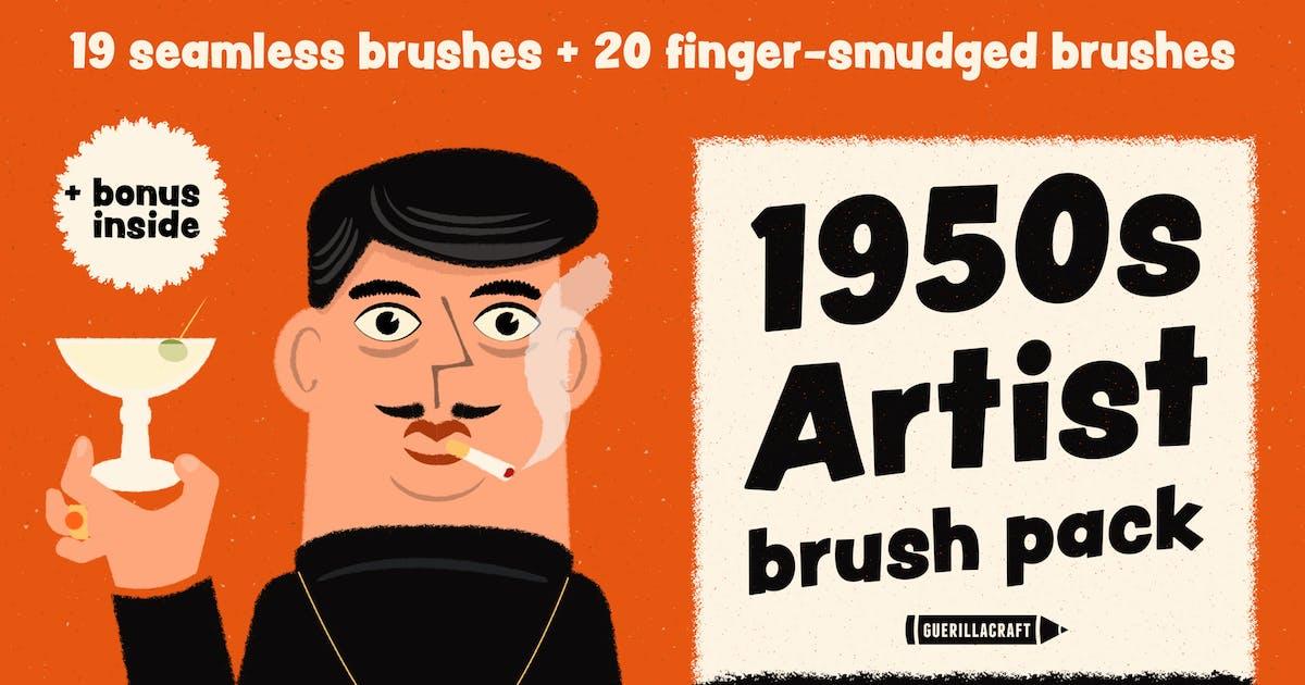 1950s Artist Brush Pack for Adobe Illustrator by guerillacraft on