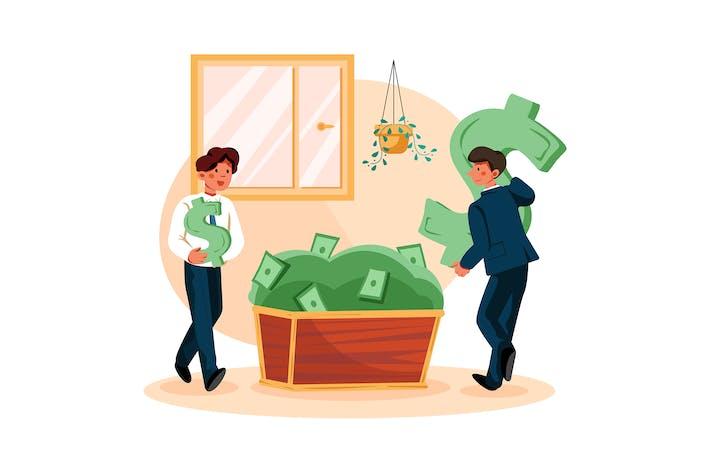 Hombres de negocios recogiendo el dólar
