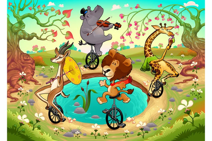 Thumbnail for Funny Wild Animals on Unicycles