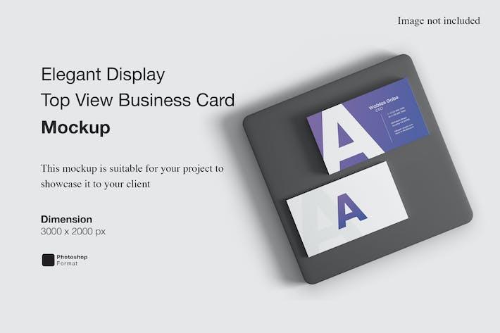 Elegant Display Top View Business Card Mockup