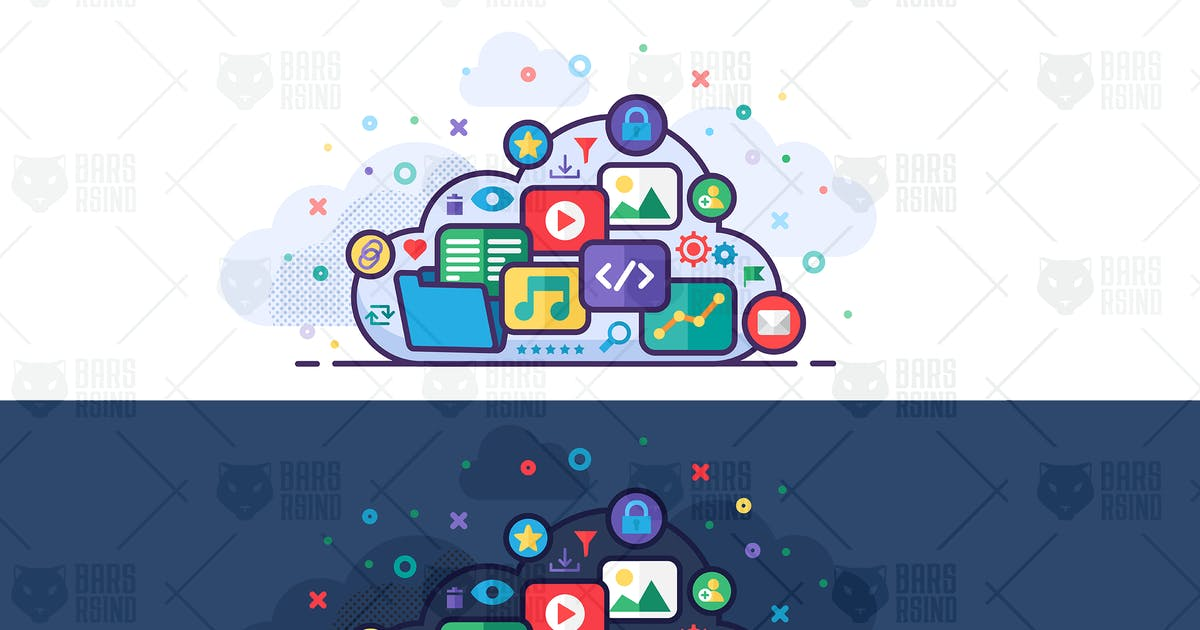 Download Vector Cloud Storage Concept Illustration by barsrsind