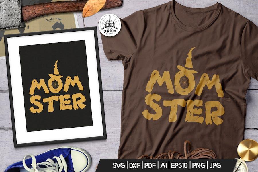 Halloween Momster Print T-Shirt Retro Badge Design