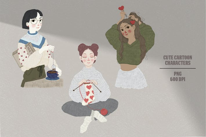 Thumbnail for Cute valentine hand-drawn cartoon girls