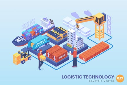 Isometric Logistic Technology Concept
