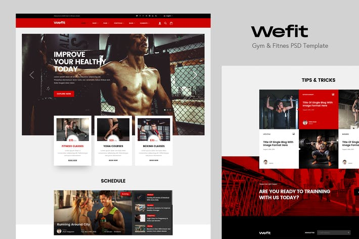 Thumbnail for Wefit - Gym & Fitness PSD Template