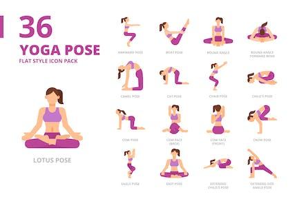 Conjunto de iconos de estilo plano Yoga Pose1