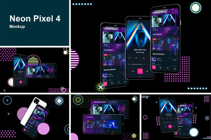 Thumbnail for Neon Pixel 4 Mockup