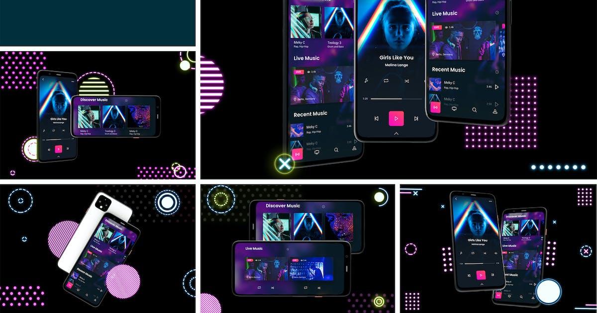 Download Neon Pixel 4 Mockup by QalebStudio
