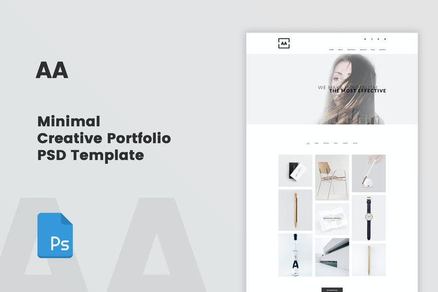 AA - Minimal Creative Portfolio PSD Template