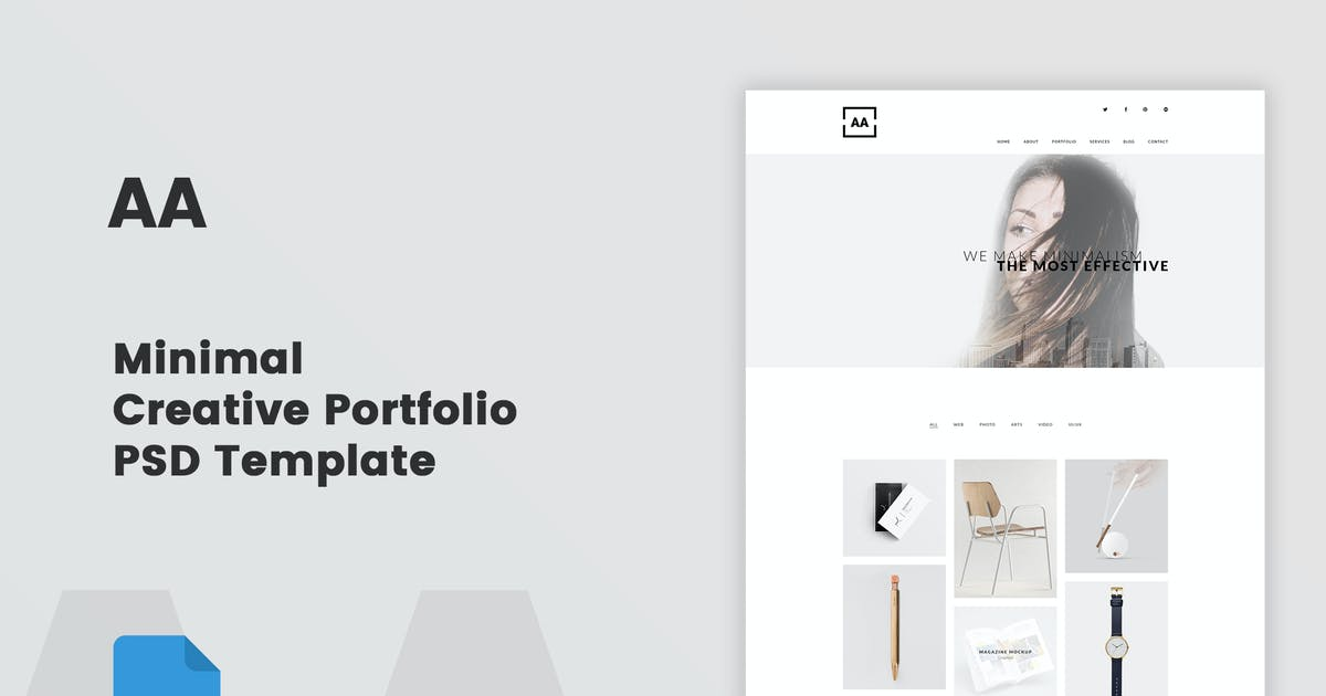 Download AA - Minimal Creative Portfolio PSD Template by bigpsfan