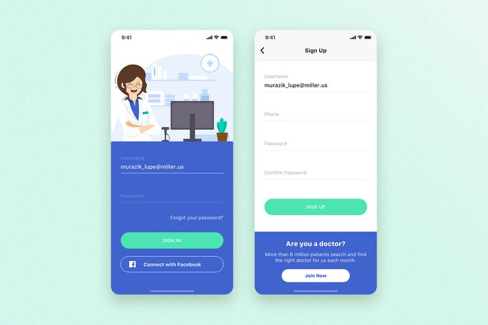 Thumbnail for Login & Sign up for Healthcare mobile app