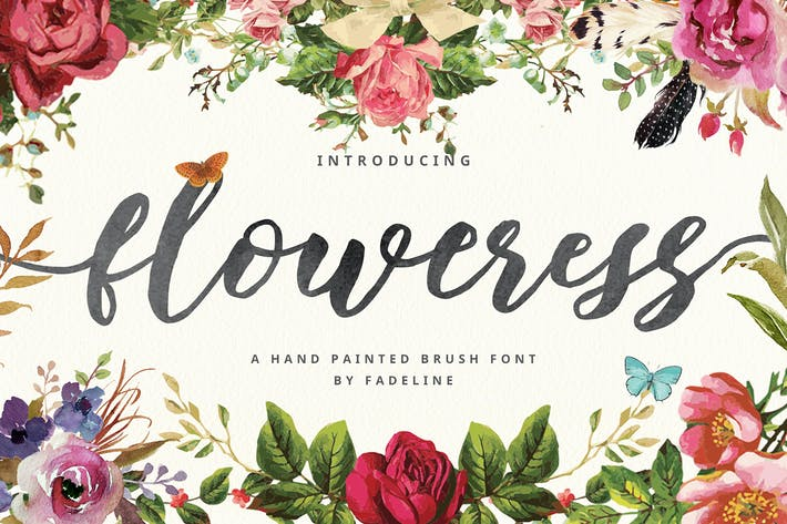 Thumbnail for Floweress - Hand Painted Brush & WEBFONT