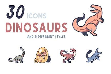Elements 30 Dinosaurs icon set
