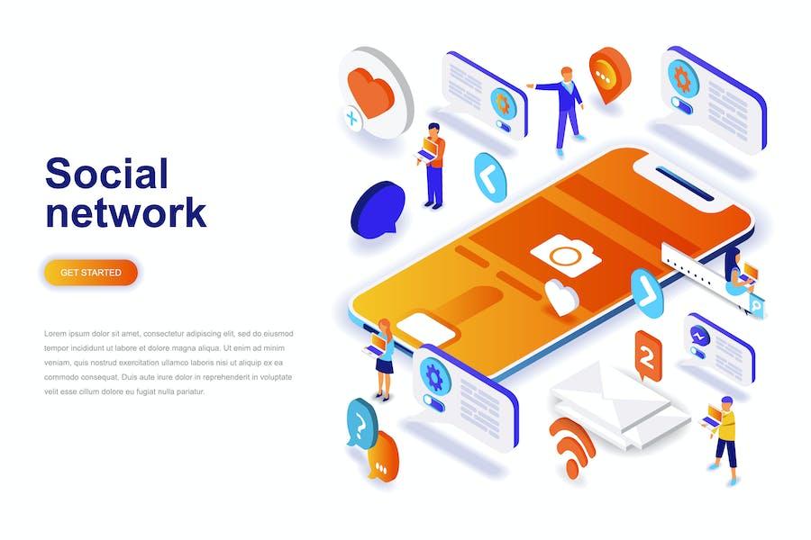 Concept isométrique des réseaux sociaux