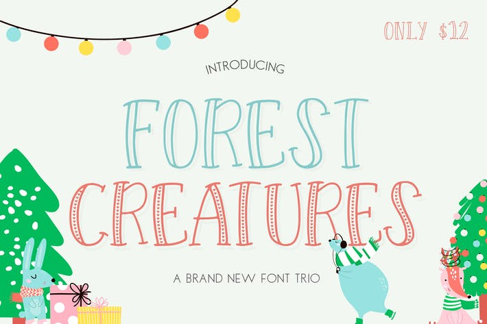 Cover Image For Forest Creatures Font Trio