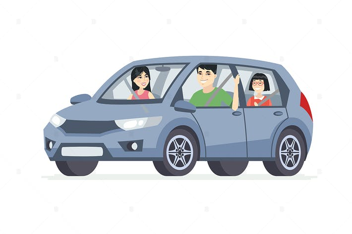 Chinese family in the car - cartoon characters