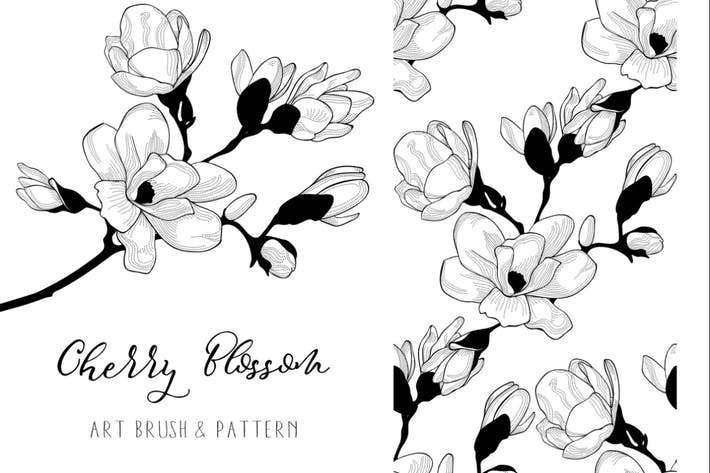 Thumbnail for Cherry Blossom. Floral Design Element. Art Brush.