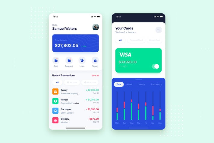 Thumbnail for Banking Wallet Mobile App UI Kit Template