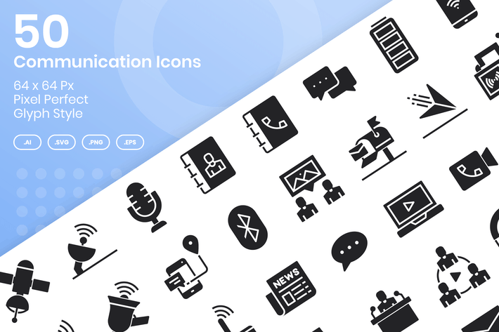 Thumbnail for 50 Communication Icons Set - Glyph