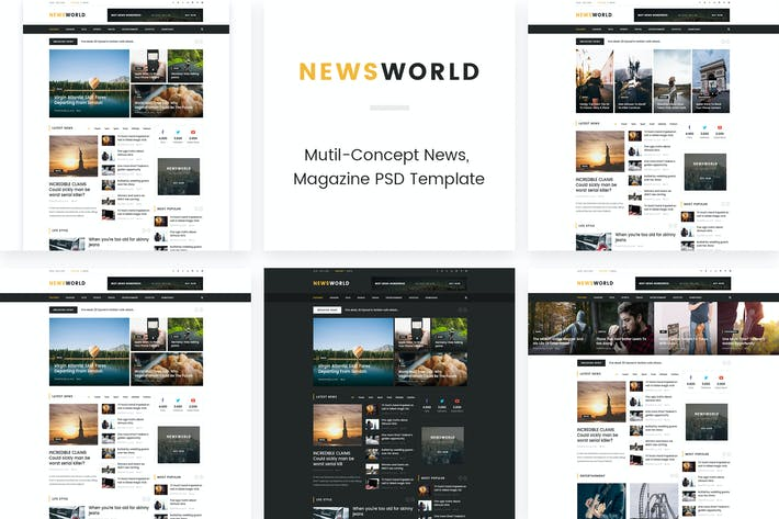 Thumbnail for News World | News Magazine PSD Template