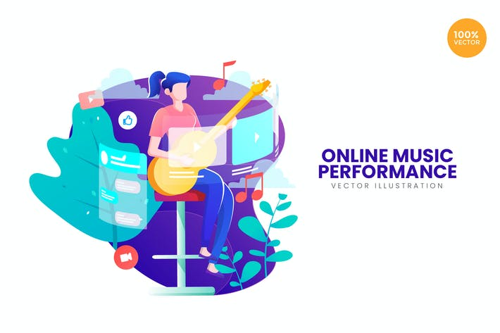 Thumbnail for Online Music Performance Vector Illustration
