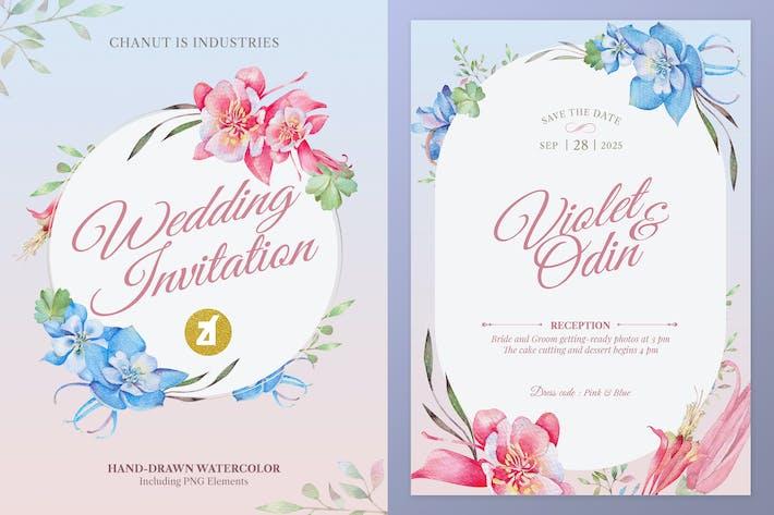 Floral handgezeichnet Aquarell Hochzeit Einladung