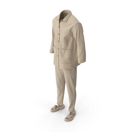 Мужская рубашка сандалии брюки Бежевый