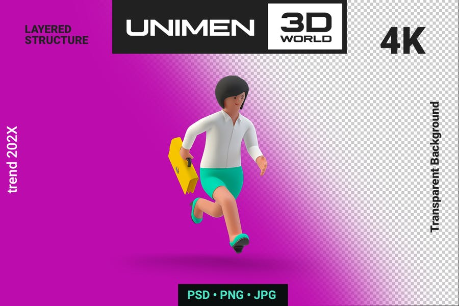 Happy Businesswoman 3D Running with Briefcase