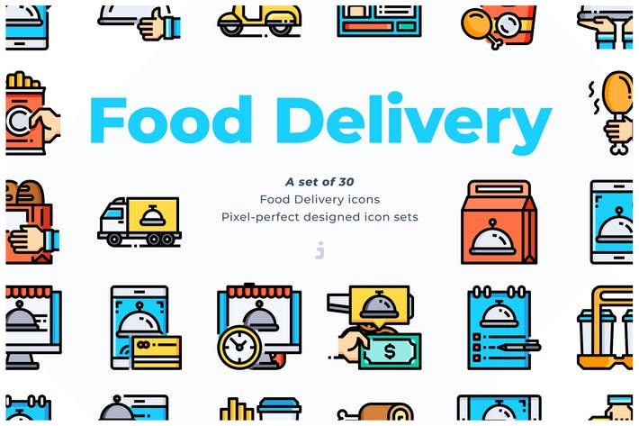 Thumbnail for 30 Food Delivery Icons
