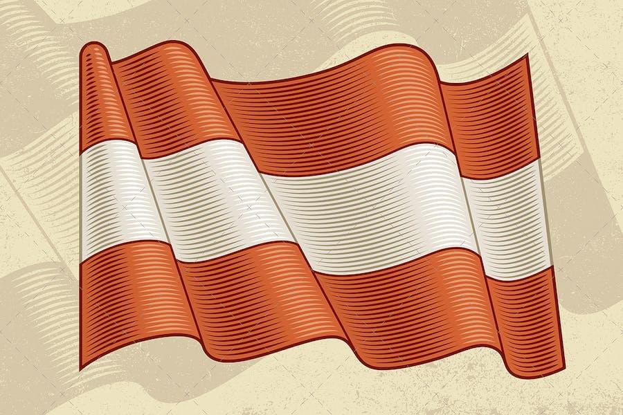 Vintage Flag Of Austria