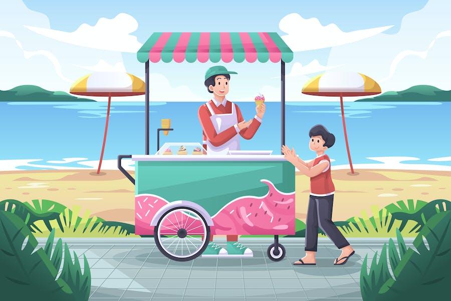 Ice Cream Cart Illustration