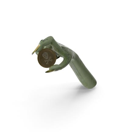 Kreatur Hand hält eine Totenkopf-Münze