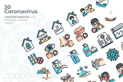 30 Coronavirus Icons
