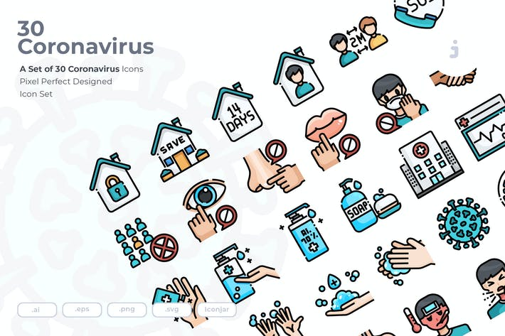 Thumbnail for 30 Coronavirus Icons