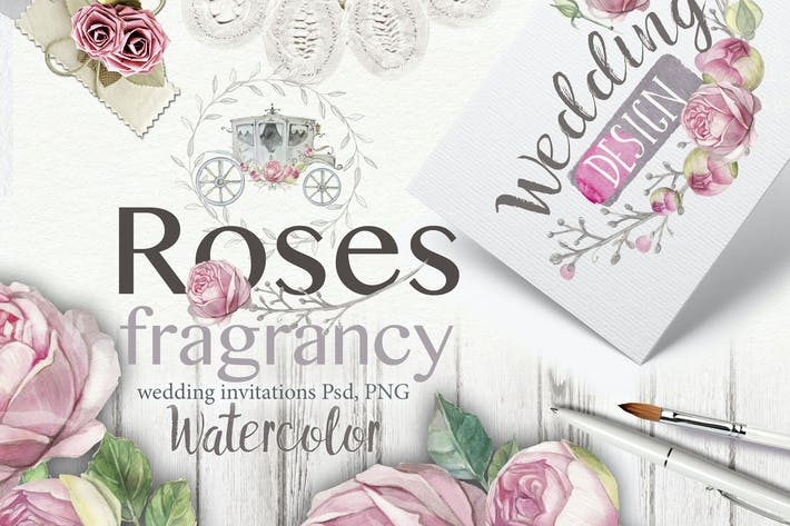 "Cover Image For Wedding invitation ""Fragrant roses"""
