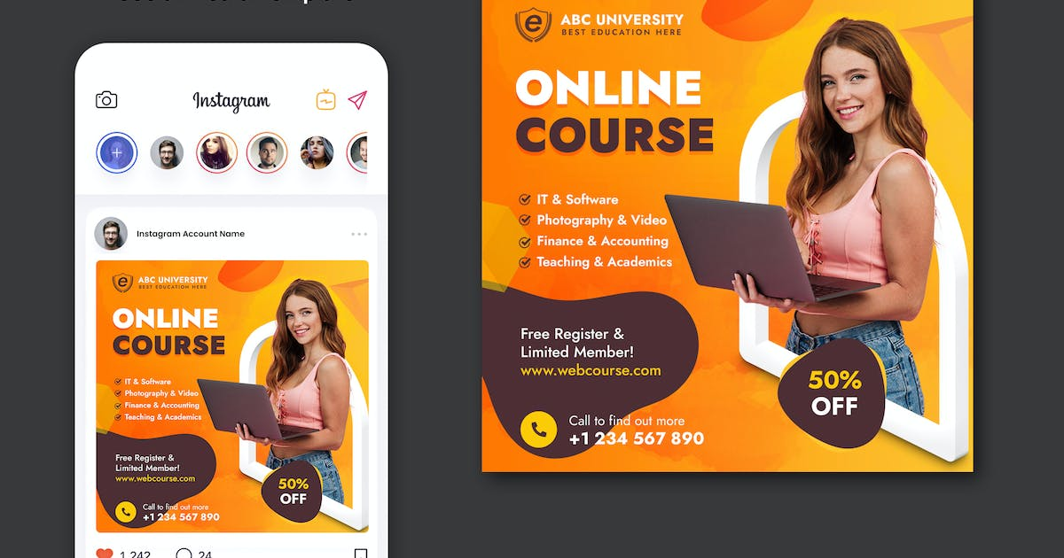 Download Online Course Banner Template by BooStock