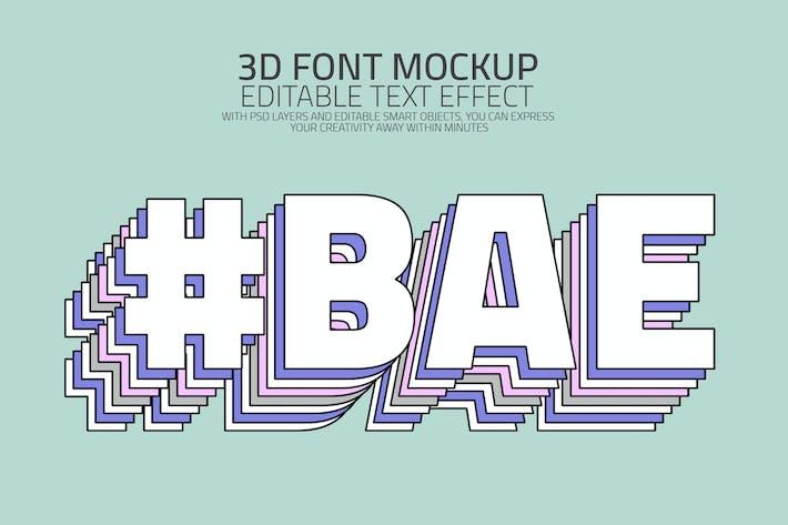 Многослойный текстовый эффект 3D типографика