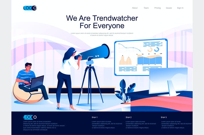 Thumbnail for Trendwatcher Isometric Landing Page Template