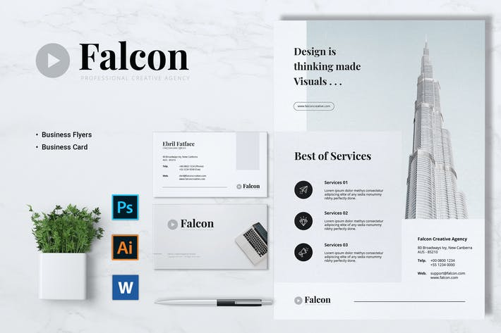 Thumbnail for FALCON Creative Agency Flyer & Business Card