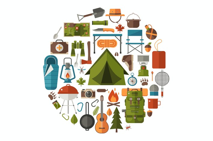 Thumbnail for Camping and Hiking Icons Circle Print Template