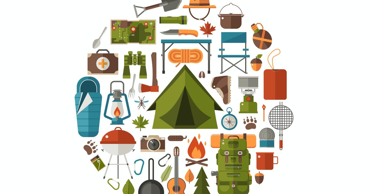 Download Camping and Hiking Icons Circle Print Template by krugli