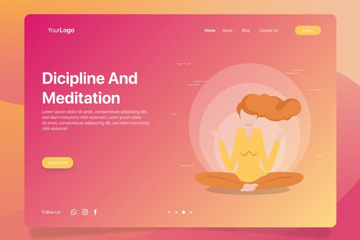 Meditation Banner Landing Page By Inspirasign On Envato Elements