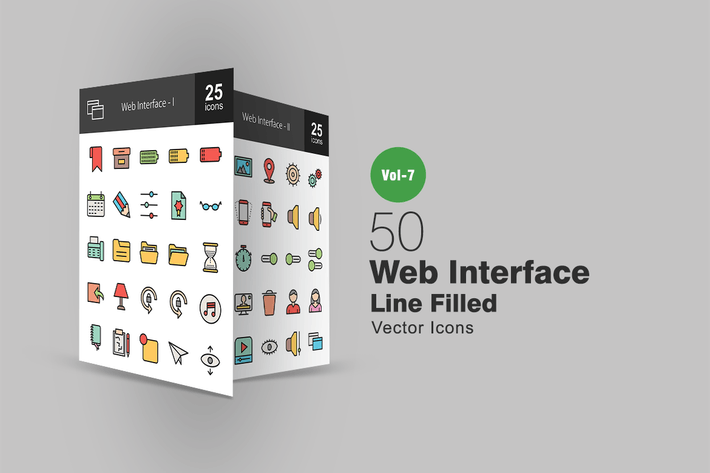 Thumbnail for 50 Web Interface Filled Line Icons