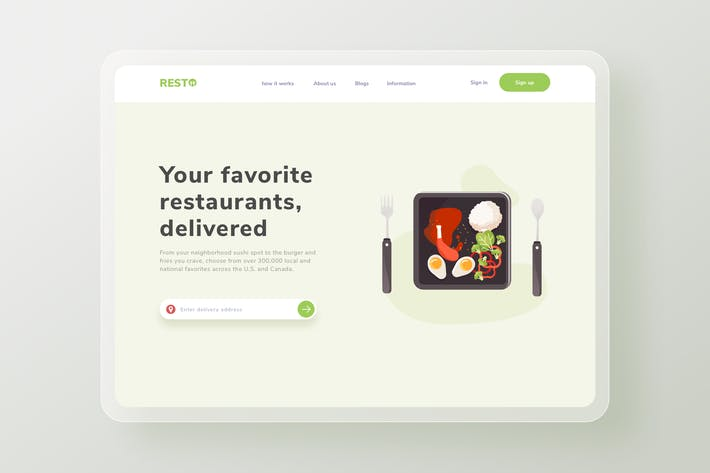 Thumbnail for Lunch menu Landing page website Illustration