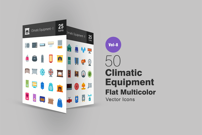 50 Climatic Equipment Flat Multicolor  Icons