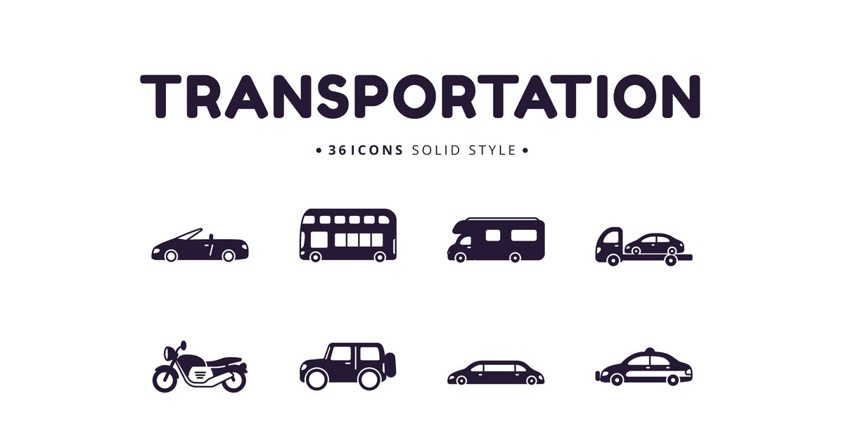 Download 36 Transportation Solid Style Icons by Victoruler