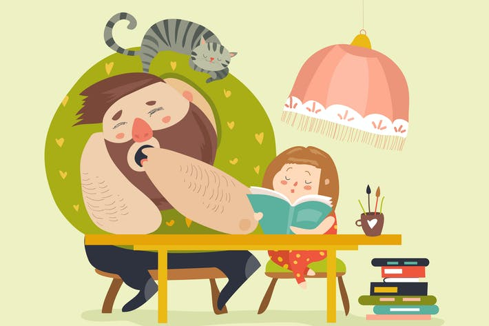 Thumbnail for Girl with Dad doing homework. Vector illustration