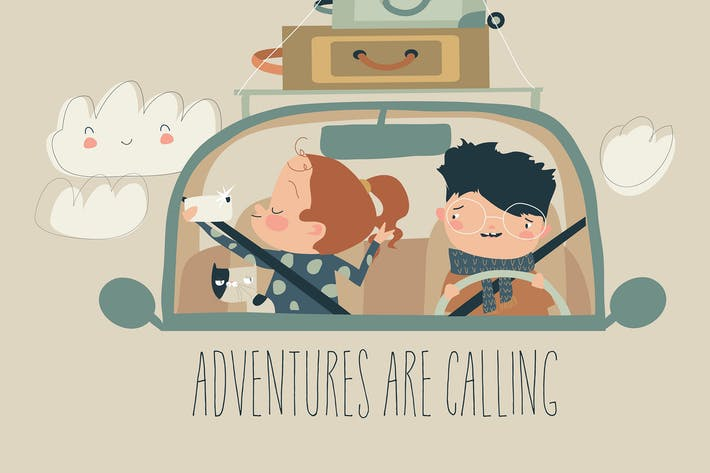 Thumbnail for Happy family with pet travelling by car. Vector